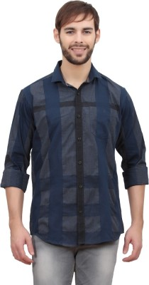 Volume Zero Men's Checkered Casual Dark Blue Shirt