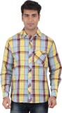 Anytime Men's Checkered Casual Yellow, M...