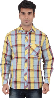 Anytime Men's Checkered Casual Yellow, Maroon, Blue Shirt