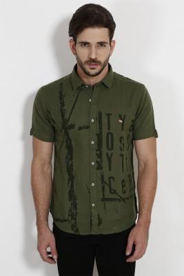 SIN Men's Solid Casual Green Shirt