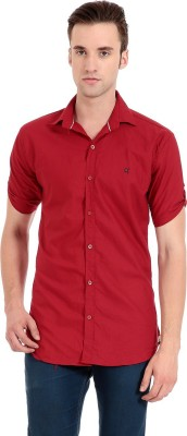 Camrick Men,s Solid Casual Red Shirt