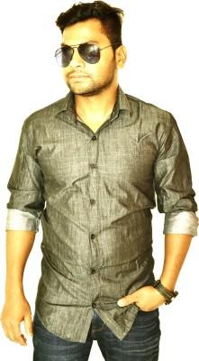 Heart Bit Men's Solid Casual Black Shirt