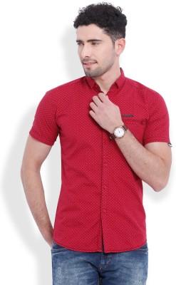 Vintage Men's Printed Casual Maroon Shirt