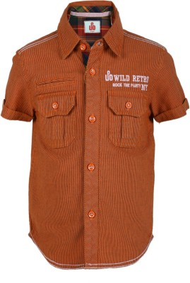 UFO Boys Striped Casual Brown Shirt
