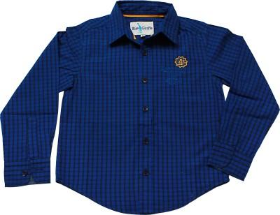 Blue Giraffe Boy's Checkered Casual Blue Shirt