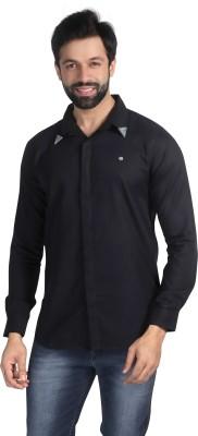 Nostrum Jeans Men's Solid Casual Black Shirt