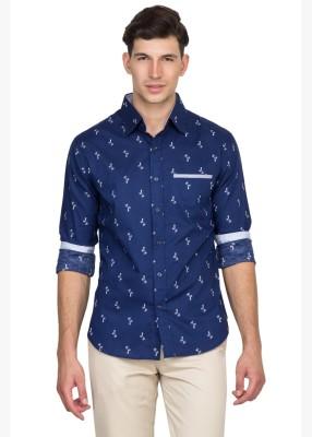 Bolt Men's Printed Casual Blue Shirt