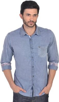 XARO Men's Self Design Casual Blue Shirt