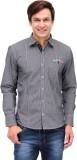 Nexq Men's Checkered Casual Black Shirt