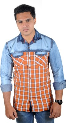 Yomaa Men's Checkered Casual Denim Blue, Orange Shirt