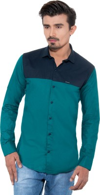 Grey Booze Men's Solid Casual Green, Blue Shirt