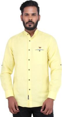 Piazza Italya Men's Solid Casual Yellow Shirt