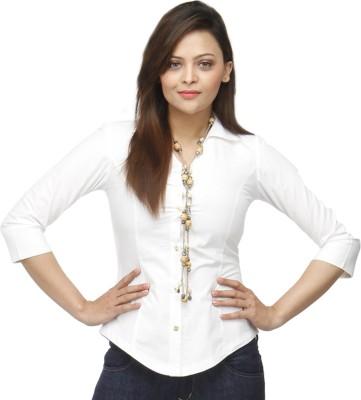 Adam n Eve Women's Solid Formal White Shirt