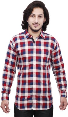Dave Men's Checkered Casual Red, Blue, White, Grey Shirt