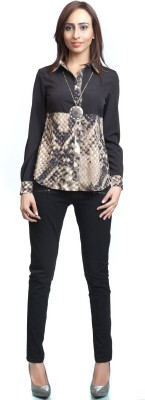 Colbrii Women,s Printed Casual Black Shirt