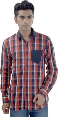 Scandal & Senses Plus Men's Checkered Casual Red Shirt