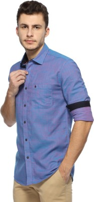 British Club Men,s Solid Casual Blue Shirt