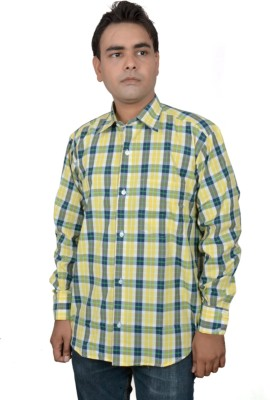 Jais Men's Checkered Casual Yellow Shirt