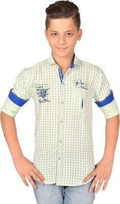 Anry Boy,s Checkered Casual Green Shirt