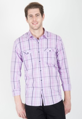 Cairon Men's Checkered Casual Pink Shirt