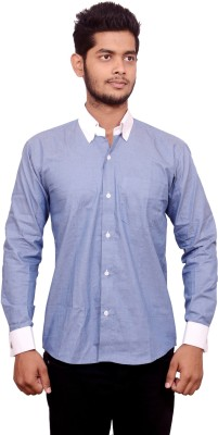 Signore Men's Solid Formal Blue Shirt