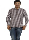 TT Men's Checkered Casual Brown Shirt