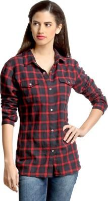 Loco En Cabeza Women's Checkered Casual Red Shirt