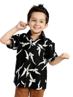 Little pocket store Boy's Animal Print Casual Black Shirt