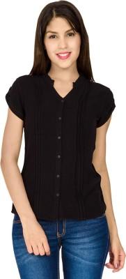 IDENTITI Women's Solid Casual Black Shirt