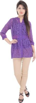 e-wa Women's Printed Casual Purple Shirt