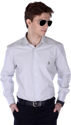 Frank Jefferson Men's Striped Formal White Shirt