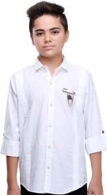 Mash Up Boys Solid Party White Shirt