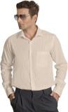 Willmohr Men's Striped Formal Beige Shir...