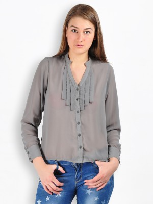 MySin Women's Self Design Party Grey Shirt