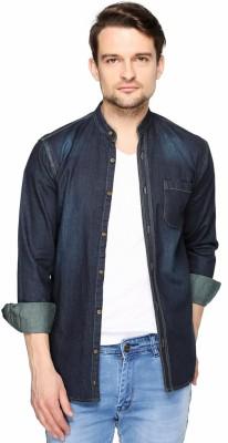 Fasnoya Brukers Men's Solid Casual Denim Blue, Black Shirt