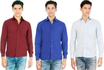 Atmosphere Men's Solid Casual Maroon, Dark Blue, Light Blue Shirt