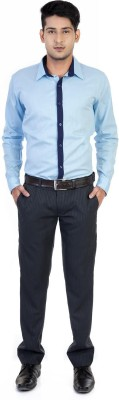 Monk Collection Men's Solid Casual Light Blue Shirt