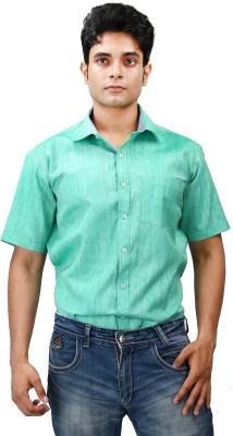 Relish Men's Solid Formal Green, Light Blue Shirt