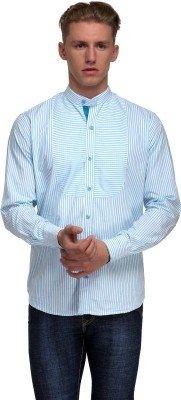 99 Hunts Men's Striped Casual Blue, White Shirt