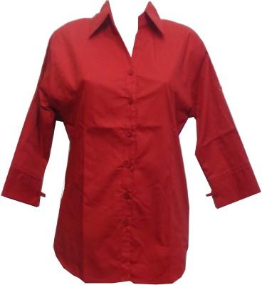 fashion point Women's Self Design Formal Red Shirt