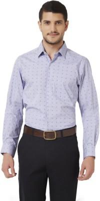 Peter England Men's Geometric Print Casual Dark Blue Shirt