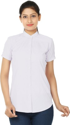 UrSense Women's Striped Formal Purple Shirt