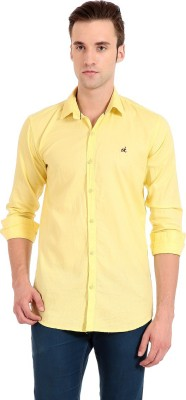 Camrick Men,s Solid Casual Yellow Shirt