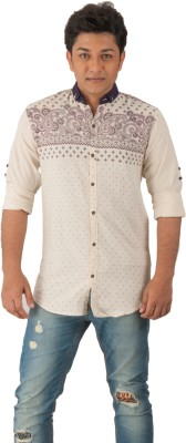 Z-Plus Men's Graphic Print Casual White Shirt