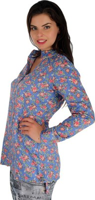 Holidae Women's Floral Print Casual Blue Shirt