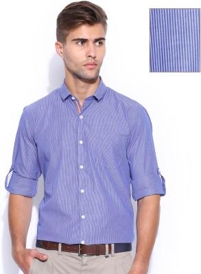 Mast & Harbour Men's Striped Formal Blue Shirt
