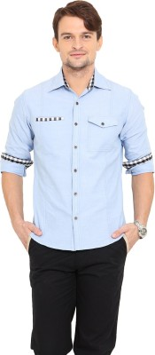 Western Vivid Men's Solid Casual Blue Shirt
