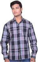 Indian Karma Formal Shirts (Men's) - Indian Karma Men's Checkered Formal Black Shirt