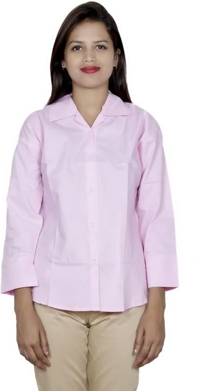 IndiWeaves Women's Solid Formal Pink Shirt