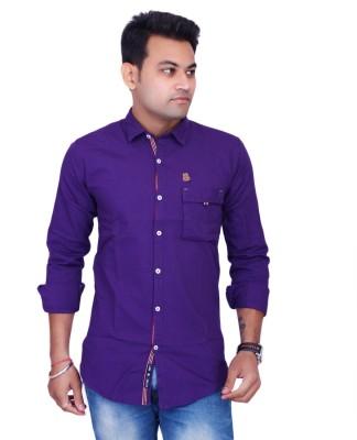 La Milano Men's Solid Casual Purple Shirt